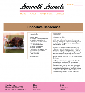 Desktop Recipe Page Layout Design